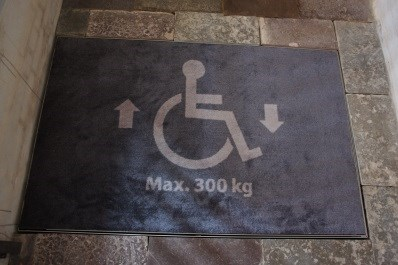 Carpet with wheelchair symbol