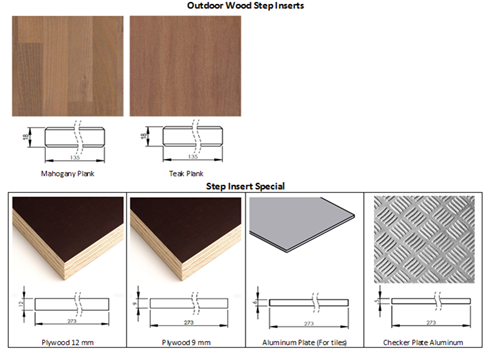 Outdoor wood step inserts